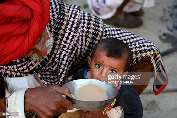 In this photograph taken on March 25 Indian nomadic shepherd Padma Ram helps his ninemonthold granddaughter Anu drink tea at his camp in Sikri in...