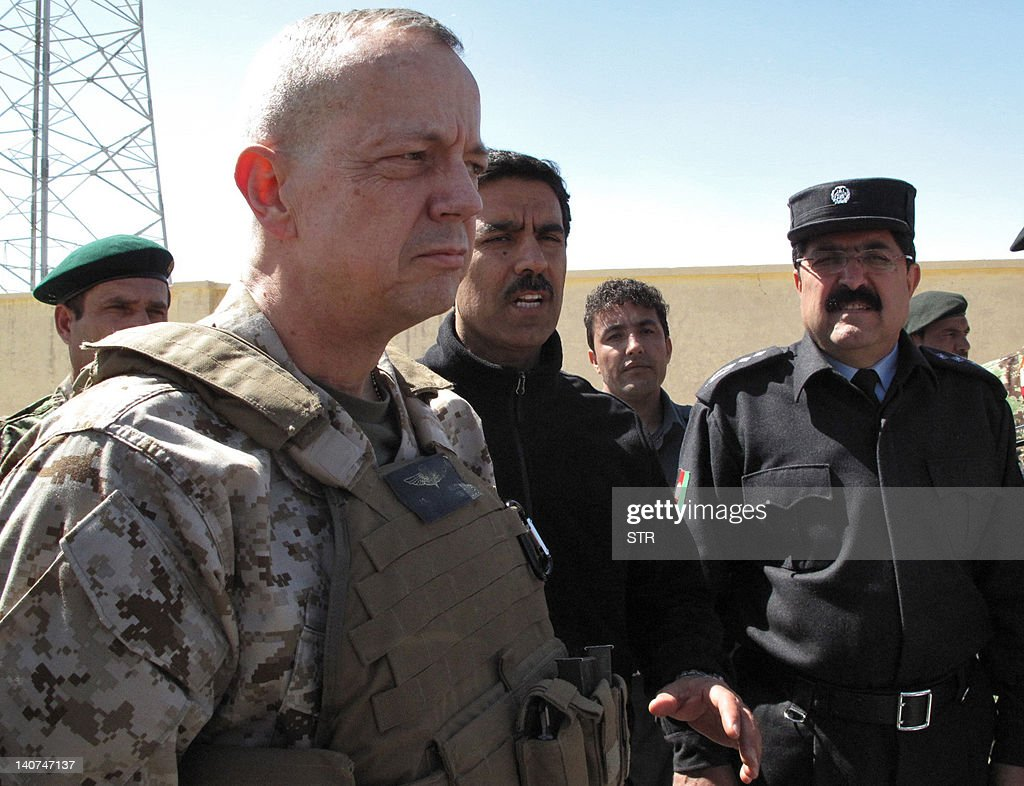 In this photograph taken on March 5 2012 the head of the International Security Assistance Force in Afghanistan US General John Allen talks as...