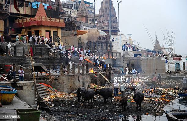 In this photograph taken on May 10 shows a general view of the country's largest cremation site Manikarnika Ghat on the River Ganges in Varanasi AFP...