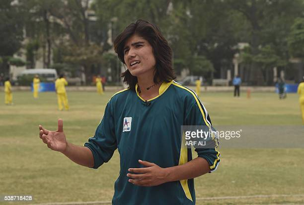 In this photograph taken on May 3 Pakistani national cricket and football player Diana Baig gestures as she speaks with AFP during an interview in...