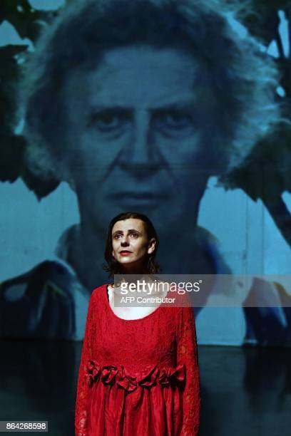 In this photograph taken on October 17 Aurelia Marceau daughter of the famous mime Marcel Marceau takes part in a scene in a performance of...