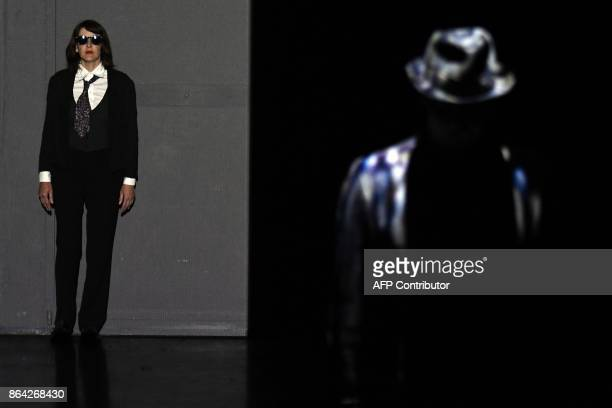 In this photograph taken on October 17 Camille Marceau daughter of the famous mime Marcel Marceau takes part in a scene in a performance of...