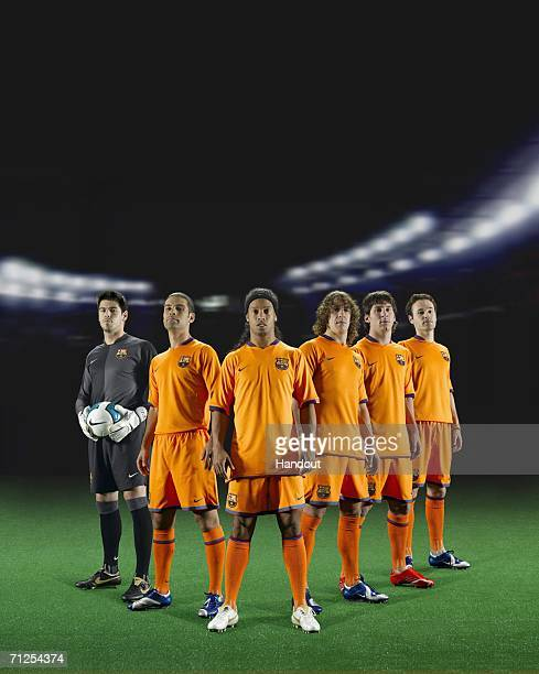 In this photomontage handout image provided by Nike Victor Valdes Rafael Marquez Ronaldinho Carles Puyol Lionel Messi and Andres Iniesta of FC...