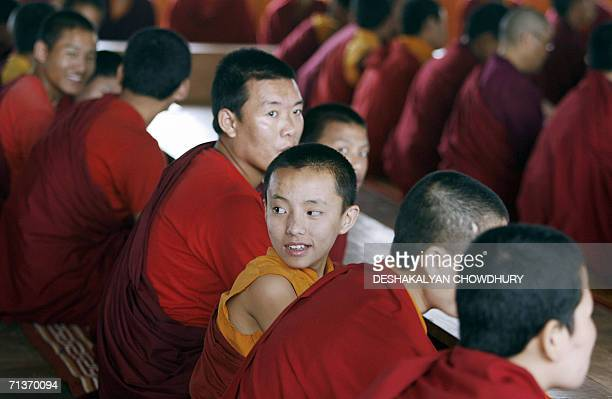 WITH 'CHINAINDIATIBETBORDERTRADERELIGION' In this picture taken 04 July 2006 Indian Buddhist monks attend a class at a monastery in Gangtok capital...