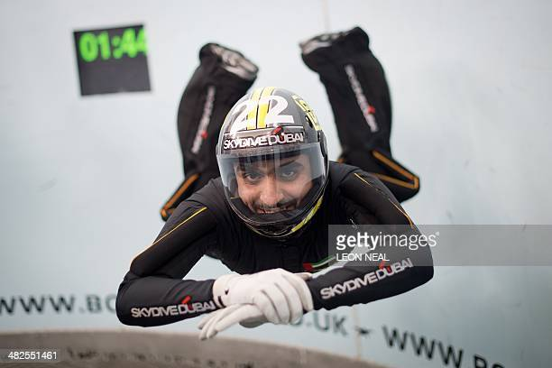 In this picture taken on April 3 2014 an athlete from the Skydive Dubai team takes part in a training session ahead of the Bodyflight World Challenge...