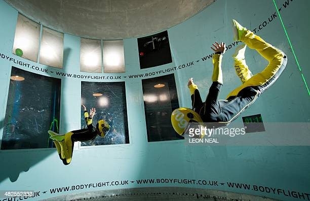 In this picture taken on April 3 Singaporean competitors take part in a training session ahead of the Bodyflight World Challenge the worlds largest...