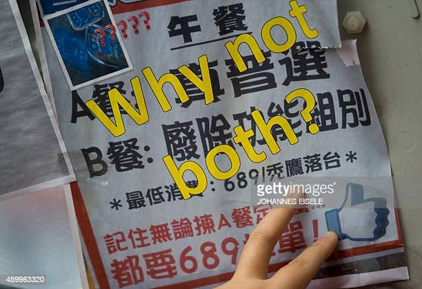 STORY 'HONG KONGCHINAPROTESTSDEMOCRACYLANGUAGE' FEATURE BY EMILY FORD In this picture taken on December 4 a joke menu is pictured at the main...