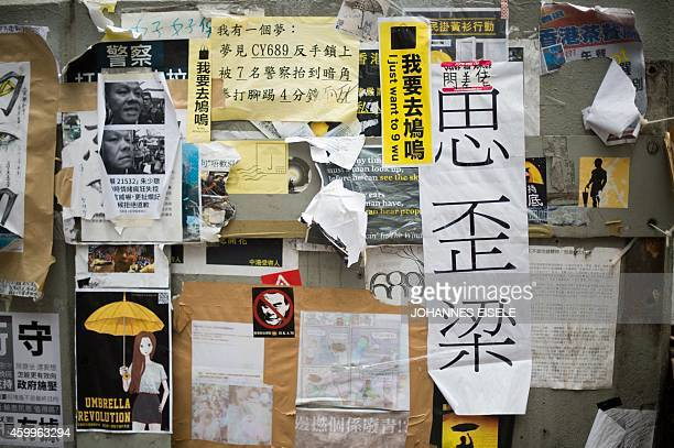 STORY 'HONG KONGCHINAPROTESTSDEMOCRACYLANGUAGE' FEATURE BY EMILY FORD In this picture taken on December 4 a poster bears Chinese characters...