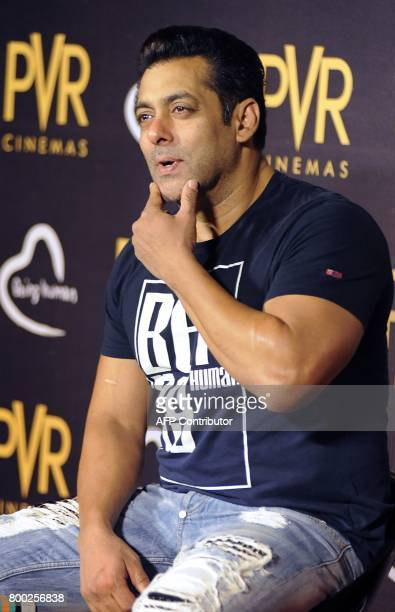 In this picture taken on June 23 2017 Indian Bollywood actor Salman Khan gestures during the announcement of his association with PVR Cinema and...