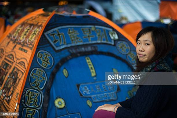 STORY 'HONG KONGCHINAPROTESTSDEMOCRACYLANGUAGE' FEATURE BY EMILY FORD In this picture taken on on December 4 artist Helen Fan one of the founders of...
