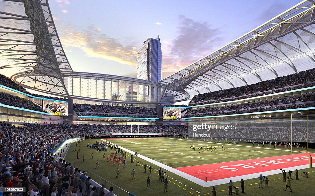 In this rendering released by AEG, the proposed football stadium to house a NFL team in Los Angeles, California is seen. It was announced February 1, 2011 that AEG has sold the naming rights for the proposed stadium to Farmers Insurance Group for $650,000, calling the stadium 'Farmers Field.'