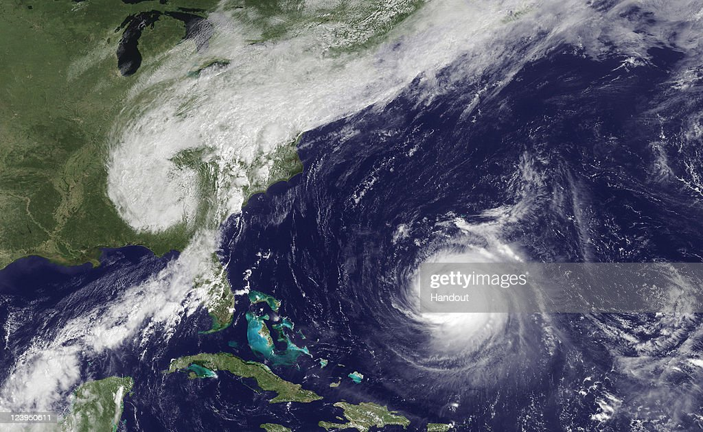 In this satellite handout from NOAA, the remnants of Tropical Storm Lee is seen over the eastern U.S. after having been absorbed by a frontal system as Hurricane Katia churns in the Atlantic September 6, 2011 from space. As the remnants of Lee is dumping rains along the Eastern U.S., prompting flood watches, Katia churns in the Atlantic ocean as a Category 3 storm, although it is not expected to make landfall.