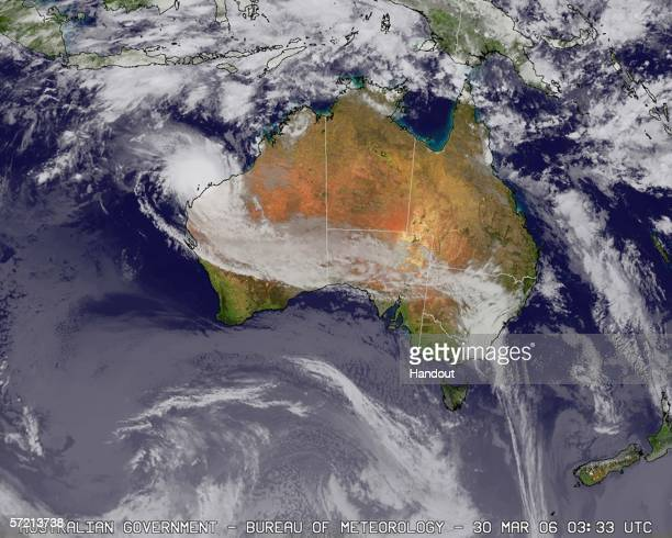 In this Satellite image Cyclone Glenda is pictured on March 30 2006 as it approaches the Australian state of Western Australia Glenda is the third...