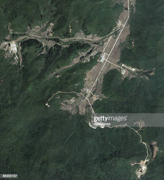 In this satellite image Dongchang Ri missile facility is seen on June 3 2009 in Dongchang Ri North Korea North Korea are said to prepare for...