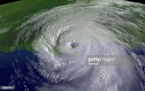 In this satellite image from NOAA a close up of the center of Hurricane Katrina's rotation is seen at 945am EST on August 29 2005 over southeastern...