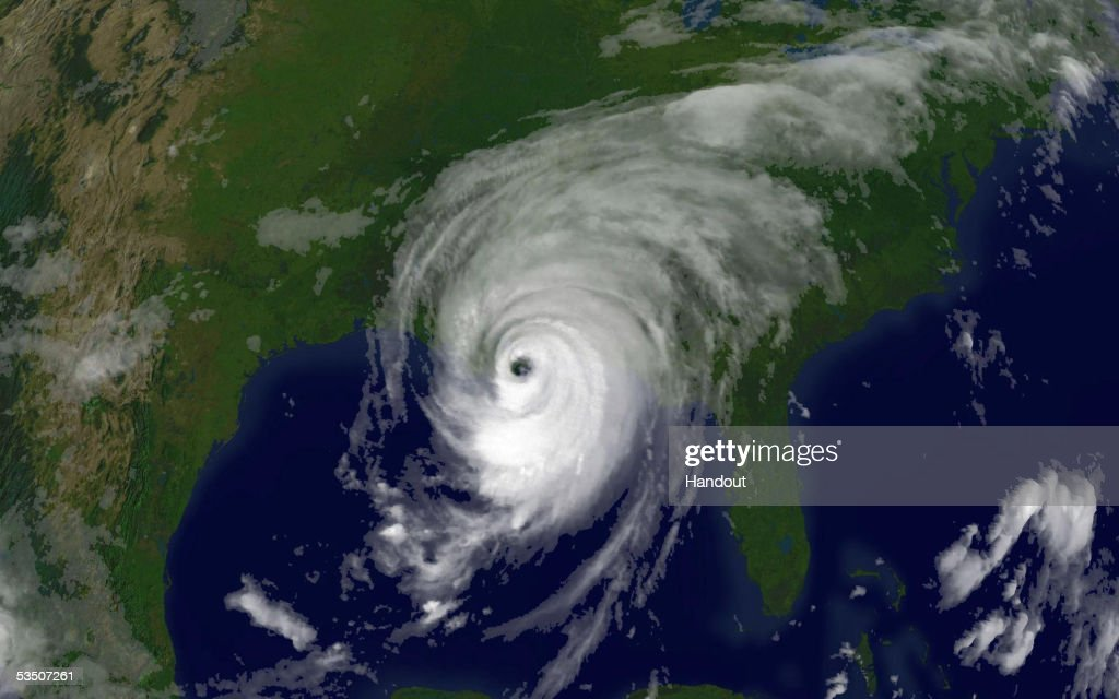 In this satellite image from NOAA, Hurricane Katrina is seen at 8:15am EST on August 29, 2005 over southeastern Louisiana. Katrina made landfall close to Empire, Louisiana with sustained winds at 140 MPH making it a strong category 4 hurricane.