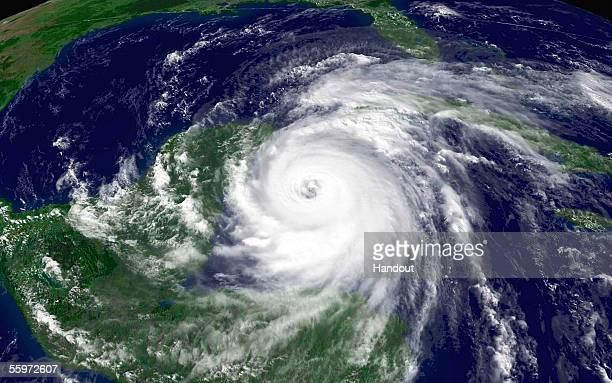 In this satellite image from NOAA taken at 315 pm EDT Hurricane Wilma is seen in the Gulf of Mexico nearing Mexico's Yucatan penisula October 20 2005...
