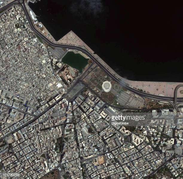 In this satellite image Green Square and the surrounding area in Tripoli Libya are imaged collected on August 22 2011 at 1238pm local time The image...