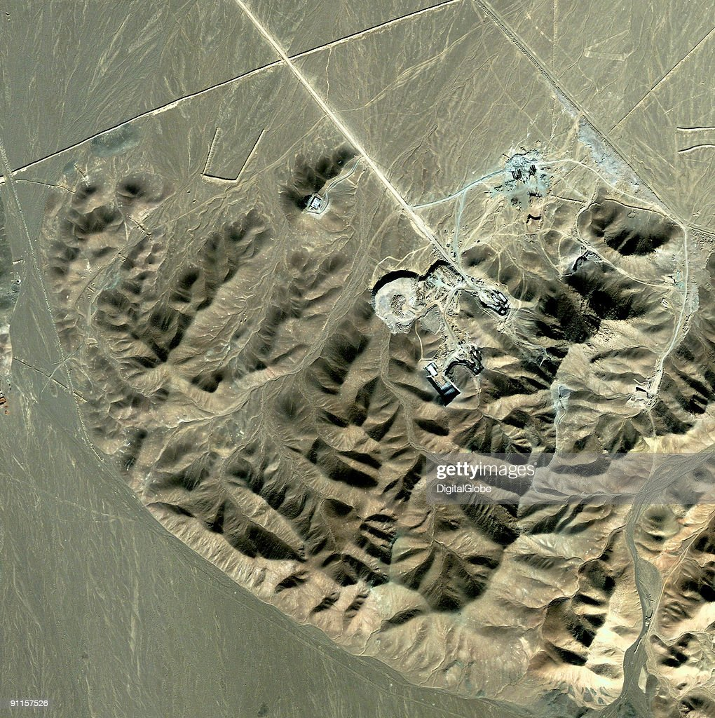 In this satellite image received September 25 2009 the rumored location of an Uranium enrichment plant is displayed in Qom Iran According to reports...