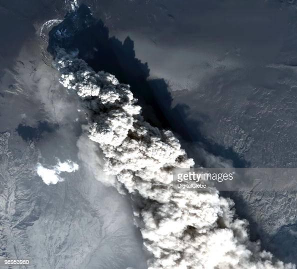 In this satellite image the Eyjafjallajokull Volcano is seen erupting May 10 2010 in Eyjafjallajokull Iceland