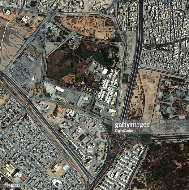 In this satellite image the Gaddafi compound in Tripoli Libya is imaged on August 22 2011 at 1238pm local time Bomb damage to the facility was noted...