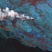 In this satellite image vessels are seen at the site of the oil spill June 15 in the Gulf of Mexio DC BP agreed June 16 2010 to place $20 billion...