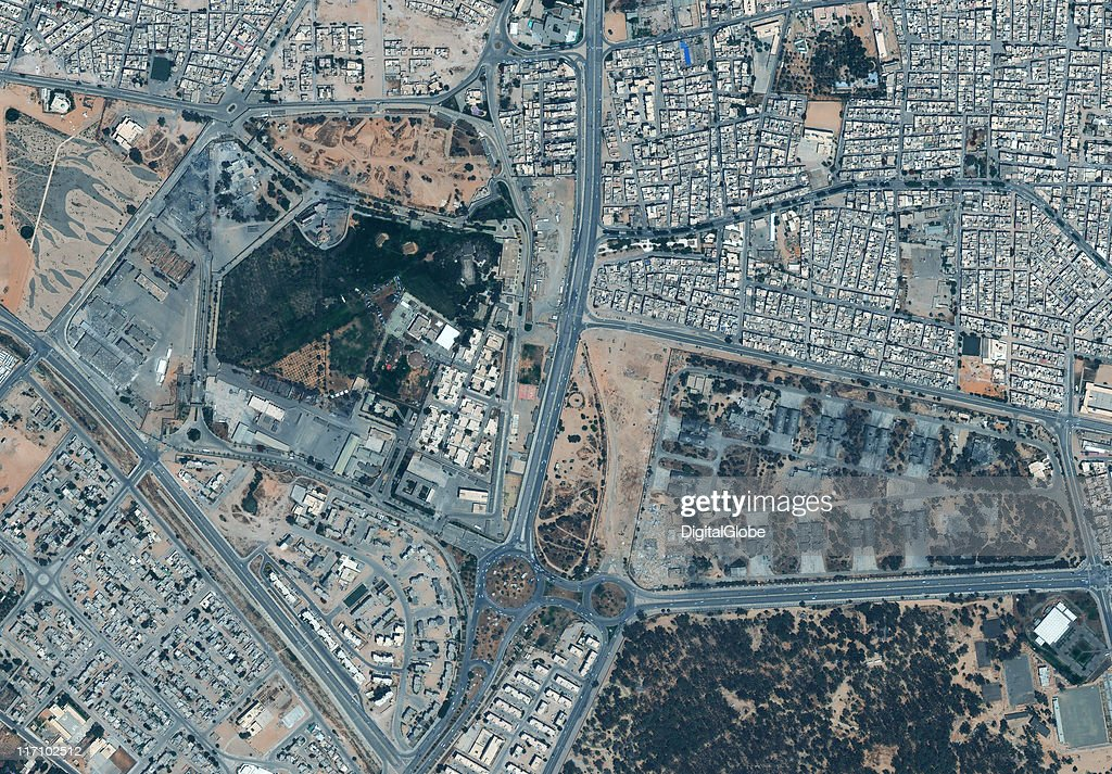 In this satellite view provided by DigitalGlobe, Libyan leader Muammar Gaddafi's fortified Bab al-Aziziya compound is pictured on June 18, 2011 in Tripoli, Libya. The U.S. has imposed further sanctions against the Libyan Government as international forces continue to intensify military pressure.