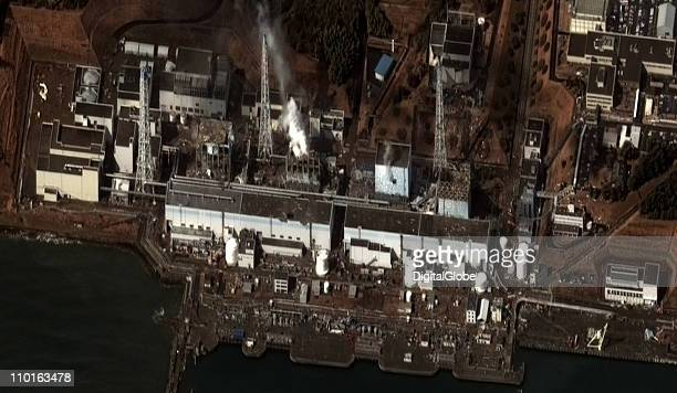 In this satellite view the damaged Fukushima Daiichi Nuclear Power plant is seen after a massive earthquake and subsequent tsunami on March 16 2011...