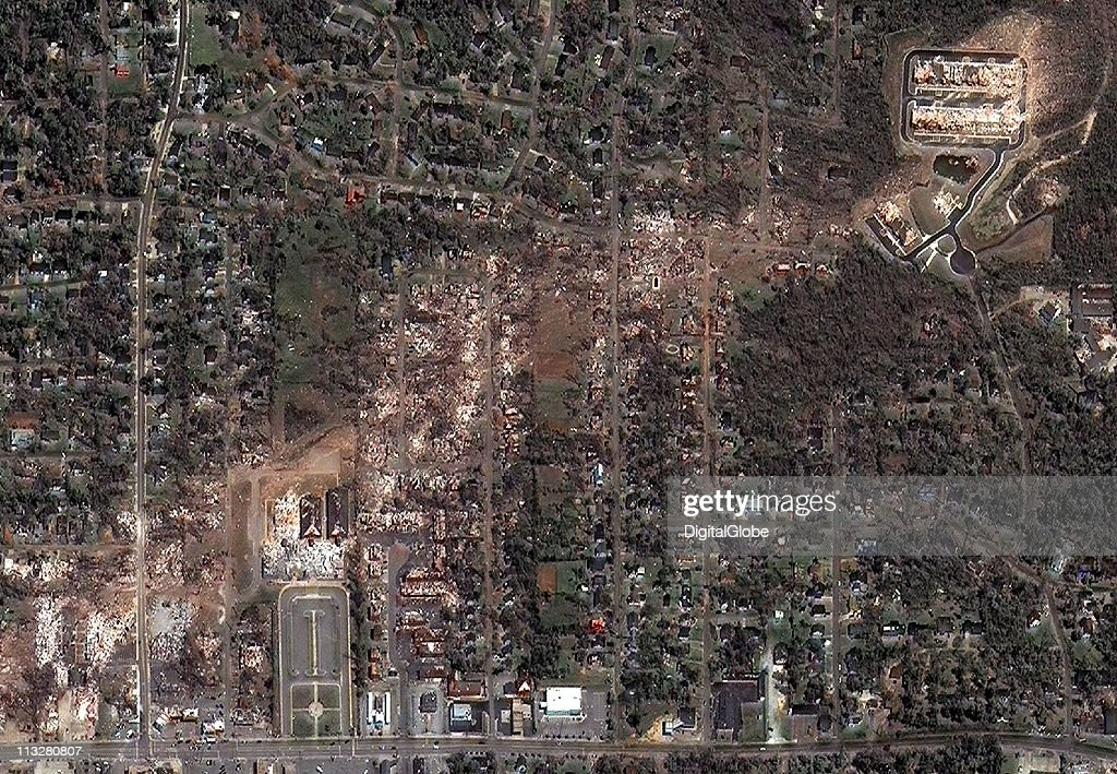 In this satellite view, the path of what is believed to have been a FE-4 grade tornado can be seen as passed through Alberta Elementary School April 29, 2011 in Tuscaloosa, Alabama. The twister just missed the University Mall in Tuscaloosa.