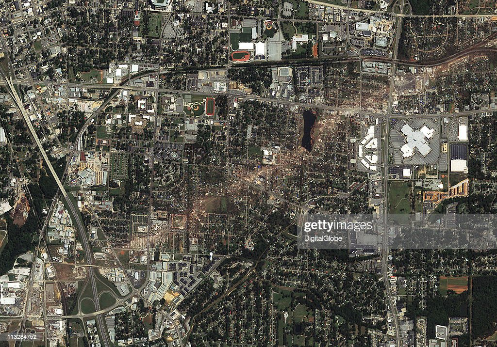 In this satellite view, the path of what is believed to have been a FE-4 grade tornado can be seen April 29, 2011 in Tuscaloosa, Alabama. The twister just missed the University Mall in Tuscaloosa.
