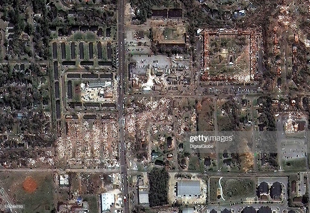 In this satellite view, the path of what is believed to have been a FE-4 grade tornado can be seen as it passed through several apartment complexes, including the Charleston Square Comples, April 29, 2011 in Tuscaloosa, Alabama. The twister just missed the University Mall in Tuscaloosa.