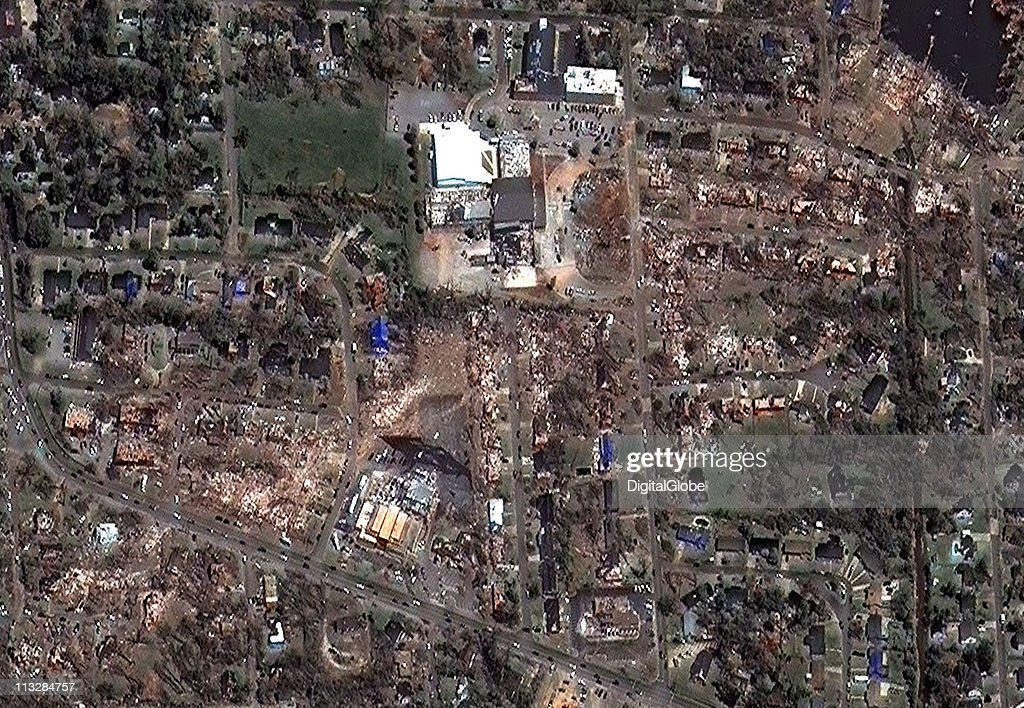 In this satellite view, the path of what is believed to have been a FE-4 grade tornado can be seen as it passed through Central Church April 29, 2011 in Tuscaloosa, Alabama. The twister just missed the University Mall in Tuscaloosa.