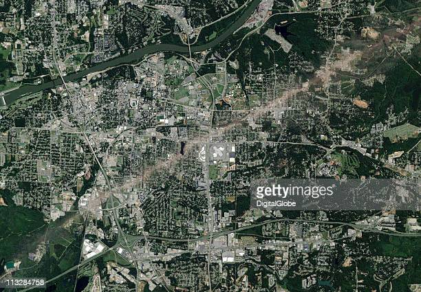 In this satellite view the path of what is believed to have been a FE4 grade tornado can be seen April 29 2011 in Tuscaloosa Alabama The twister just...
