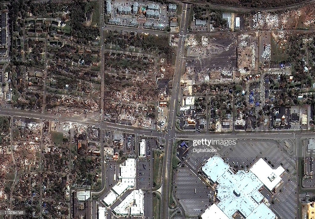 In this satellite view, Veterans Memorial Parkway and the areas surrounding it are shown damaged by what is believed to have been a FE-4 grade tornado April 29, 2011 in Tuscaloosa, Alabama. The twister just missed the University Mall in Tuscaloosa.