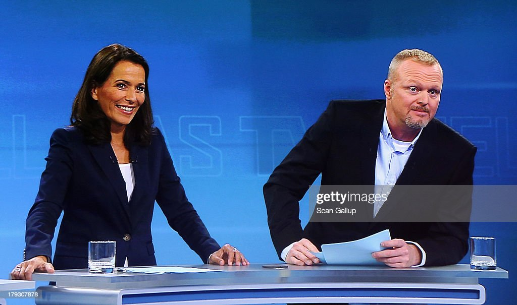 In this screenshot taken from German television hosts <a gi-track='captionPersonalityLinkClicked' href=/galleries/search?phrase=Anne+Will&family=editorial&specificpeople=2146053 ng-click='$event.stopPropagation()'>Anne Will</a> and <a gi-track='captionPersonalityLinkClicked' href=/galleries/search?phrase=Stefan+Raab&family=editorial&specificpeople=242927 ng-click='$event.stopPropagation()'>Stefan Raab</a> poses quations to German Chancellor and Christian Democrat (CDU) Angela Merkel and Social Democrats (SPD) chancellor candidate Peer Steinbrueck during the live television debate at the Adlershof studios on September 1, 2013 in Berlin, Germany. Today's live debate is the only one between the two candidates ahead of German elections scheduled for September 22.