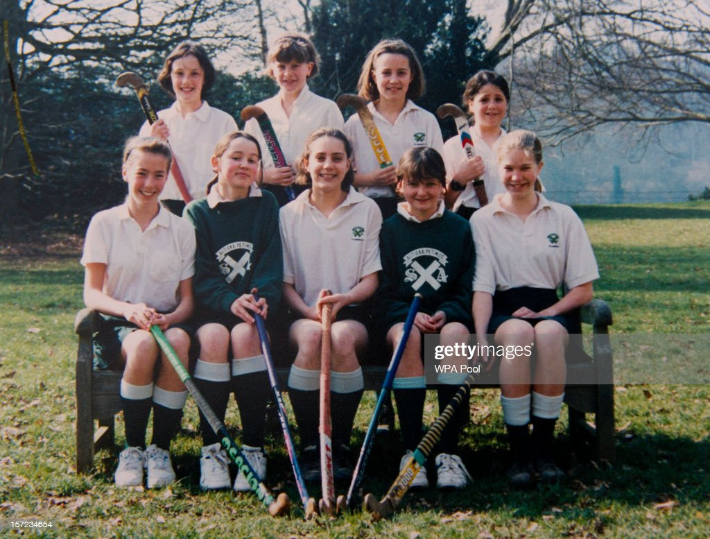 In this undated collect photo provided by St Andrew's School, Kate Middleton (front row, C) is pictured in a hockey team photo during her time as a pupil at St Andrew's School in Pangbourne, Berkshire, England (1986-1995). Catherine, Duchess of Cambridge re-visited her former school on November 30, 2012 to take part in a day of activities and festivities to mark the occasion of St Andrew's Day. The Duchess visited the Pre-Prep School for under-5s, unveiled a plaque to officially open a new artificial turf playing field and met members of the school's hockey team, which she played for during her time as a pupil at the school. She was also given a private tour of the school and watched the school's Progressive Games which are traditional games played indoors by teachers and students on St Andrew's Day.