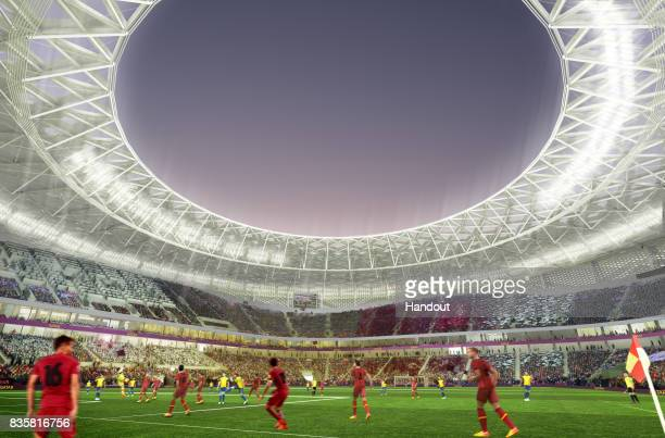 In this undated computergenerated artists' impression provided by 2022 Supreme Committee for Delivery and Legacy the Al Thumama Stadium a Qatar 2022...