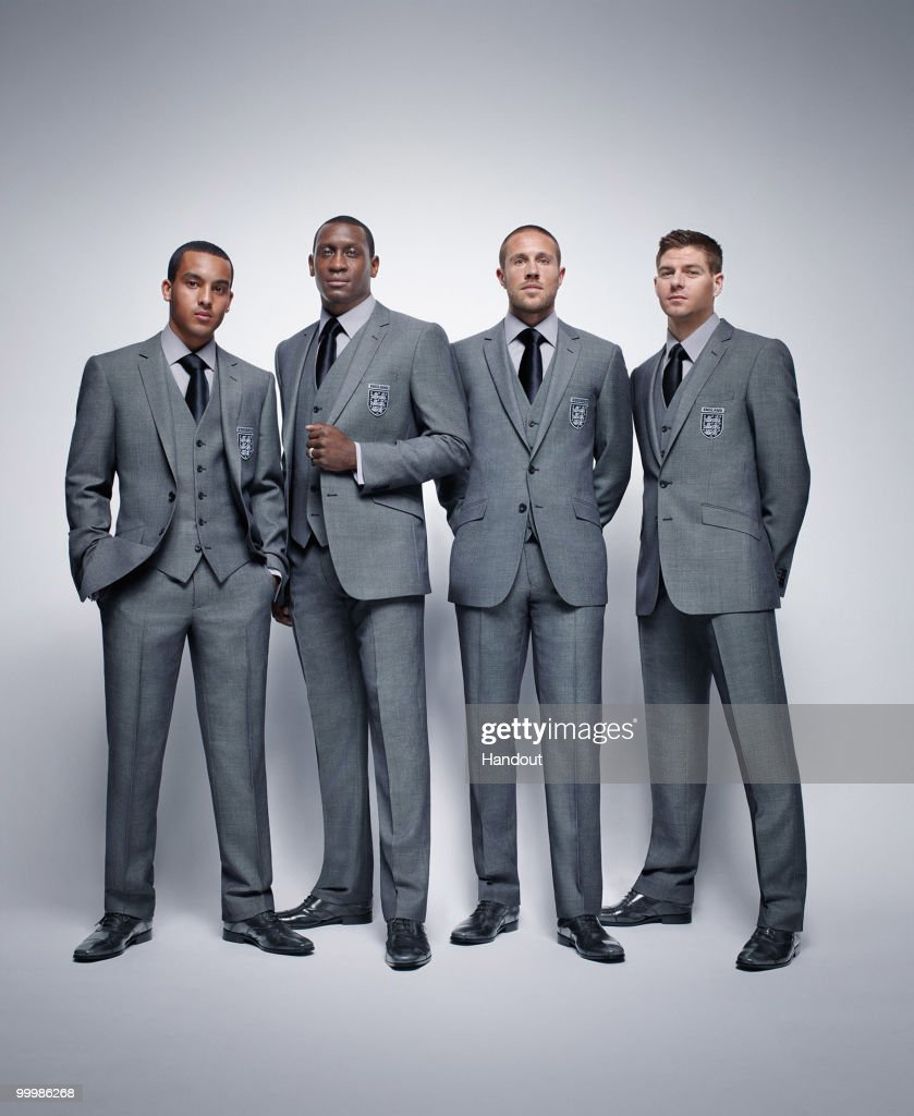 In this undated handout image provided by MS Theo Walcott Emile Heskey Matthew Upsom and Steven Gerrard of the England World Cup squad pose for a...