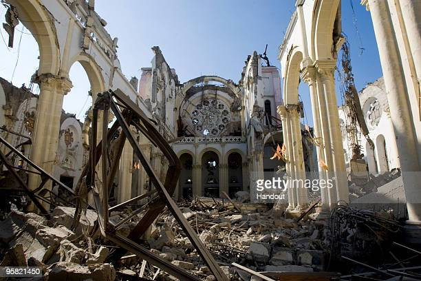 In this undated handout image provided by the United Nations on January 16 the remains of a cathedral are seen in PortauPrince Haiti Haiti is trying...
