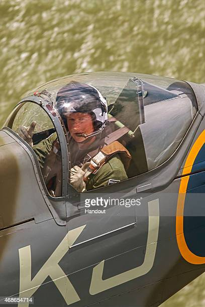 In this Undated handout issued by Boultbee Flight Academy on Sunday April 5 Prince Harry flys in the back of a Spitfire on a sortie from Goodwood...