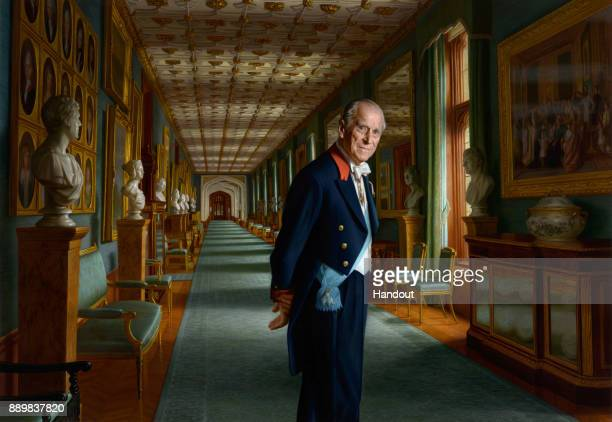 In this undated handout issued by Buckingham Palace of a painting by Australian born artist Ralph Heimans A painting of Prince Philip Duke of...