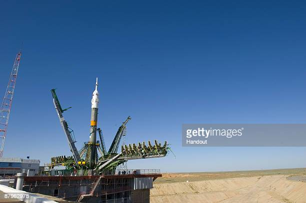In this undated handout photo provided by the European Space Agency The Soyuz launcher is positioned on Launch Pad One at Baikonur Cosmodrome in...