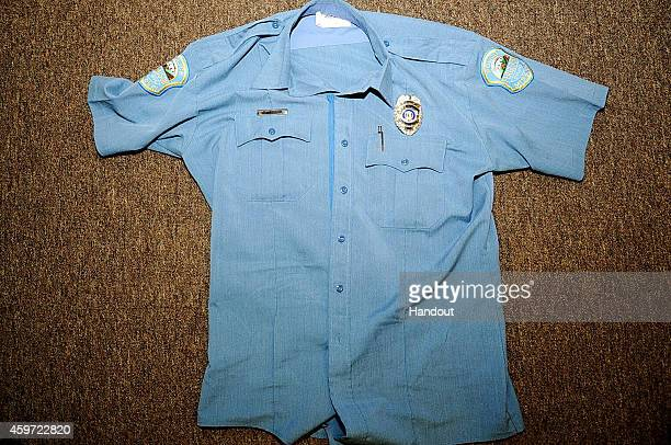 In this undated handout photo provided by the St Louis County Prosecutor's Office Ferguson police officer Darren Wilson's shirt documented after the...
