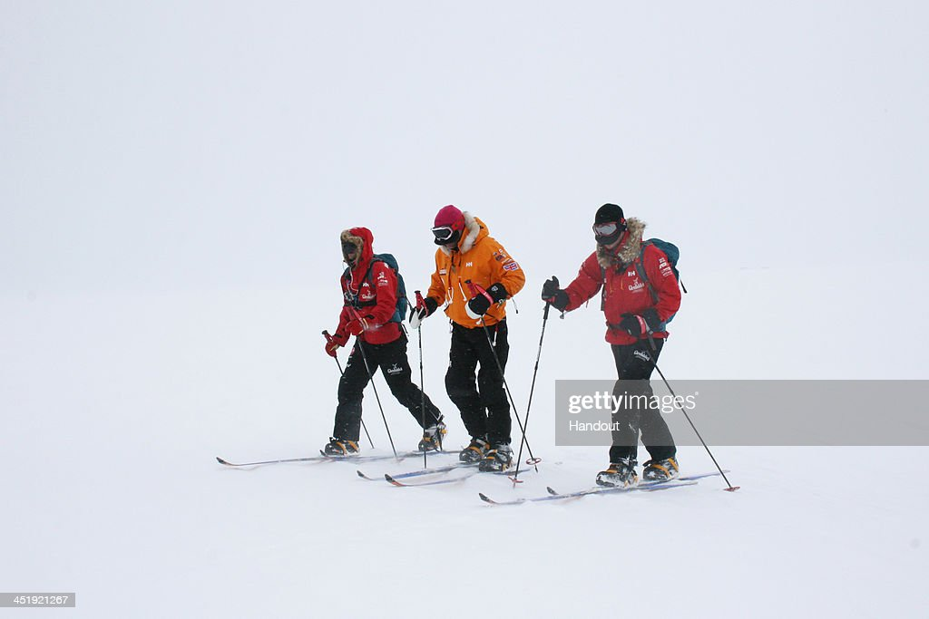 NOVO, ANTARCTICA - In this undated handout photo provided by Walking with the Wounded (WWTW) on November 23, 2013, <a gi-track='captionPersonalityLinkClicked' href=/galleries/search?phrase=Prince+Harry&family=editorial&specificpeople=178173 ng-click='$event.stopPropagation()'>Prince Harry</a> (R), patron of Team UK in the Virgin Money South Pole Allied Challenge 2013 expedition takes part in ski training in Novo, Antarctica. The team of 12 injured service personnel from Britain, America, Canada and Australia have overcome life-changing injuries and undertaken challenging training programmes to prepare themselves for the conditions they will face in Antarctica. Trekking around 15km to 20km per day, the teams will endure temperatures as low as minus 45C and 50mph winds as they pull their 70kg sleds to the south pole. This handout photo may only be used in for editorial reporting purposes for the contemporaneous illustration of events, things or the people in the image or facts mentioned in the caption. Reuse of the picture may require further permission from the copyright holder.