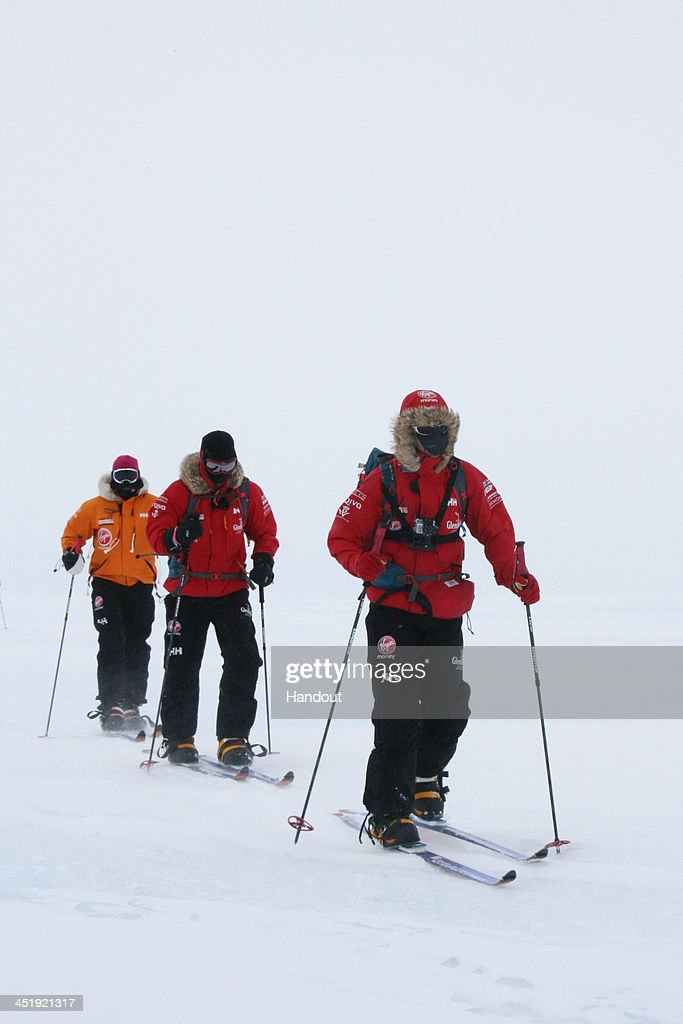 NOVO, ANTARCTICA - In this undated handout photo provided by Walking with the Wounded (WWTW) on November 23, 2013, <a gi-track='captionPersonalityLinkClicked' href=/galleries/search?phrase=Prince+Harry&family=editorial&specificpeople=178173 ng-click='$event.stopPropagation()'>Prince Harry</a> (C), patron of Team UK in the Virgin Money South Pole Allied Challenge 2013 expedition takes part in ski training in Novo, Antarctica. The team of 12 injured service personnel from Britain, America, Canada and Australia have overcome life-changing injuries and undertaken challenging training programmes to prepare themselves for the conditions they will face in Antarctica. Trekking around 15km to 20km per day, the teams will endure temperatures as low as minus 45C and 50mph winds as they pull their 70kg sleds to the south pole. (Photo by WWTW via Getty Images)NOTE