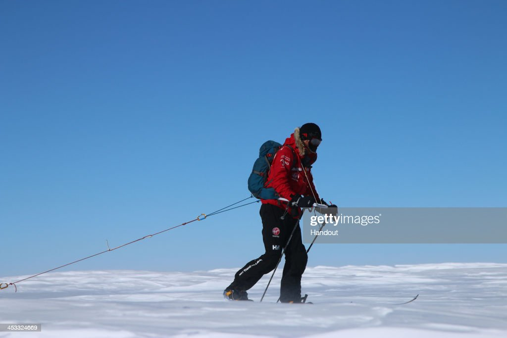 NOVO, ANTARCTICA - In this undated handout photo provided by Walking with the Wounded (WWTW) on December 3, 2013, <a gi-track='captionPersonalityLinkClicked' href=/galleries/search?phrase=Prince+Harry&family=editorial&specificpeople=178173 ng-click='$event.stopPropagation()'>Prince Harry</a> leads his Team UK in Antarctica on day one of the South Pole Allied Challenge. The Virgin Money South Pole Allied Challenge 2013, of which Harry is patron, will see the participants race across three degrees to the South Pole. All 12 injured service personnel from Britain, America, Canada and Australia have overcome life-changing injuries and undertaken challenging training programmes to prepare themselves for the conditions they will face in Antarctica. Trekking around 15km to 20km per day, the teams will endure temperatures as low as minus 45C and 50mph winds as they pull their 70kg sleds to the south pole.