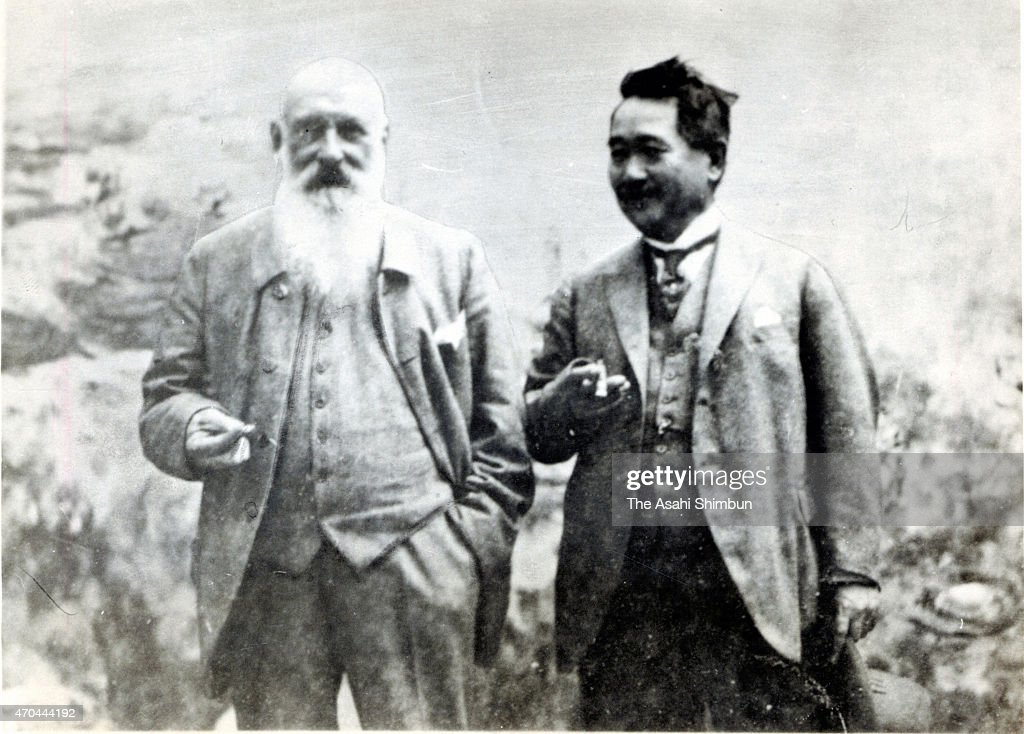 In this undated photo, artist <a gi-track='captionPersonalityLinkClicked' href=/galleries/search?phrase=Claude+Monet&family=editorial&specificpeople=79875 ng-click='$event.stopPropagation()'>Claude Monet</a> and Japanese businessman Kojiro Matsukata are seen at Monet's home in Giverny, France.
