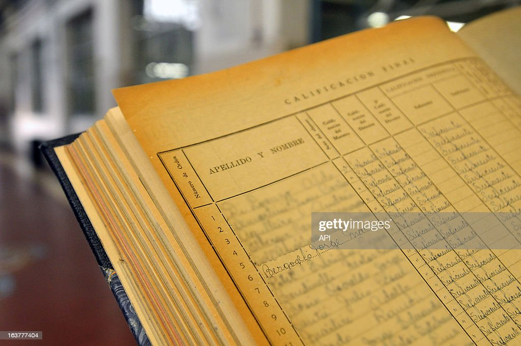 In this undated photo Jorge Mario Bergoglio's school records from school number 8 are displayed.