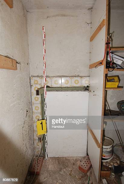 In this undated Police handout image provided by Security Administration of Lower Austria a hidden room at the house and hiding place where a father...