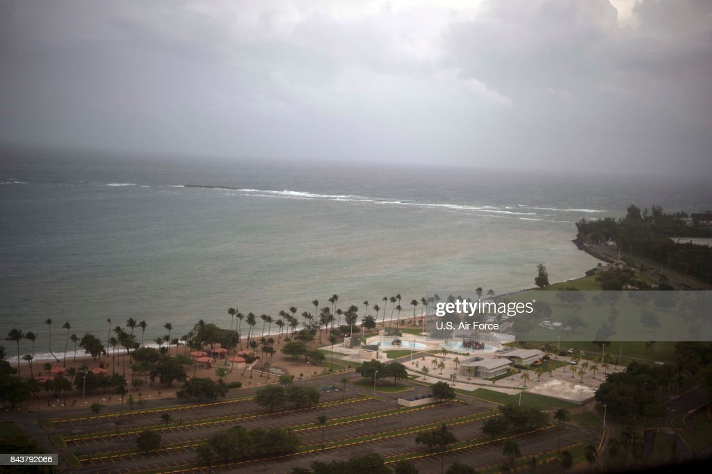 In this U.S. Air Force handout, the outer band of Hurricane Irma approaches San Juan, Puerto Rico, September 6, 2017. Hurricane Irma is currently a category 5 hurricane and is capable of inflicting catastrophic damage.